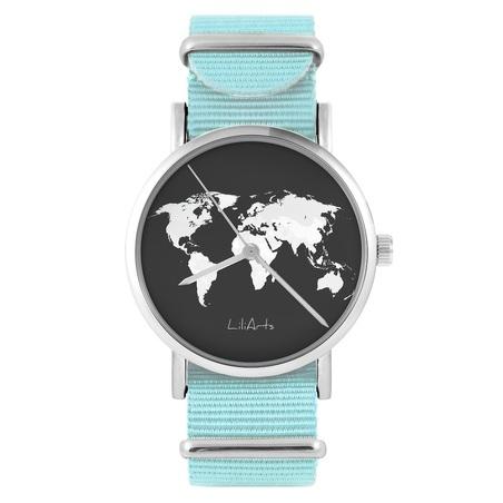 LiliArts watch - World map - blue, nylon