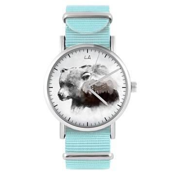 LiliArts watch - Bear - Into The Wild - blue, nylon