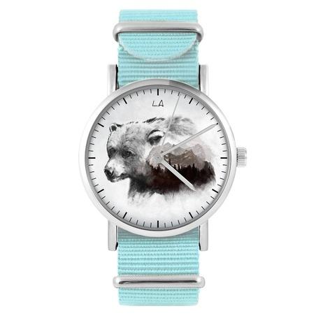 LiliArts watch - Bear - Into The Wild - blue, nylon