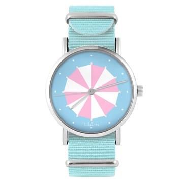 Zegarek LiliArts - Parasolka - niebieski, nylonowy
