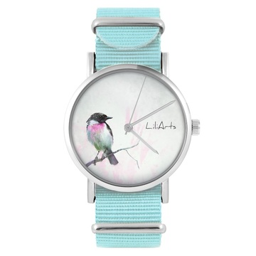 LiliArts watch - Pastel bird - blue, nylon