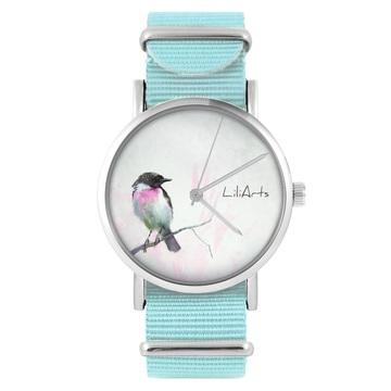 Zegarek LiliArts - Pastelowy ptaszek - niebieski, nylonowy