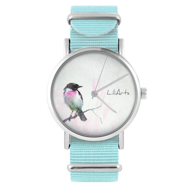 LiliArts watch - Pastel bird - blue, nylon