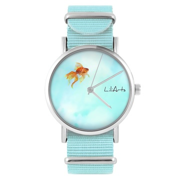 LiliArts watch - Fish - blue, nylon