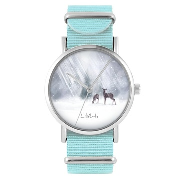 LiliArts watch - Roe-deers - blue, nylon
