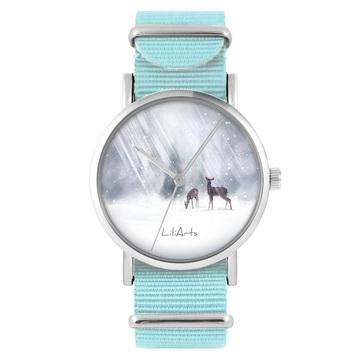Zegarek LiliArts - Sarenki - niebieski, nylonowy