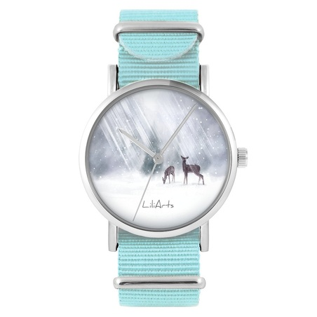 LiliArts watch - Roe-deers - blue, nylon