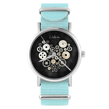 LiliArts watch - Steampunk heart black - blue, nylon