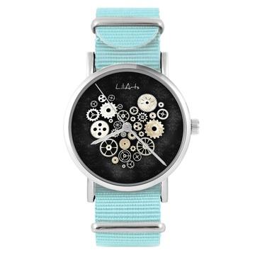 Zegarek LiliArts - Serce Steampunk czarne - niebieski, nylonowy