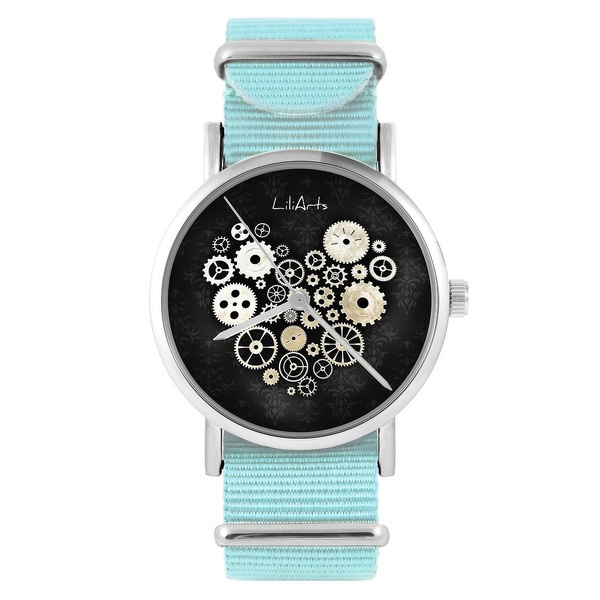 LiliArts watch - Steampunk heart black - blue, nylon