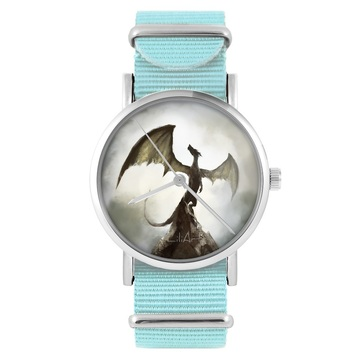 LiliArts watch - Shadow dragon - blue nylon