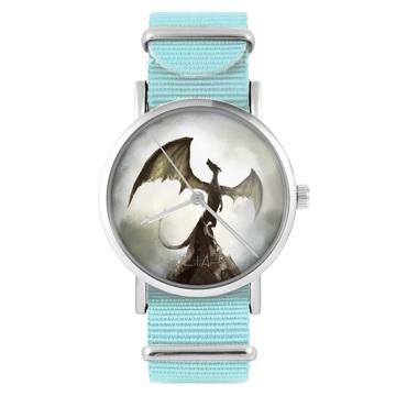 Zegarek LiliArts - Smok cienia - niebieski, nylonowy