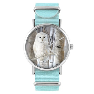 LiliArts watch - Owl - blue, nylon