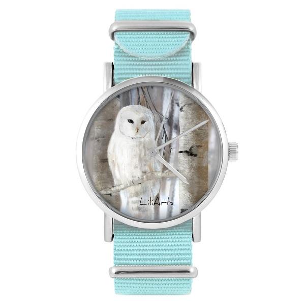 LiliArts watch - Owl - blue, nylon
