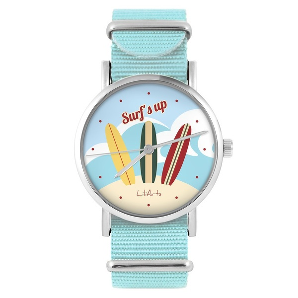 LiliArts watch - Surfs up - blue, nylon
