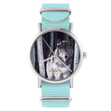 LiliArts watch - Gray wolf - blue, nylon