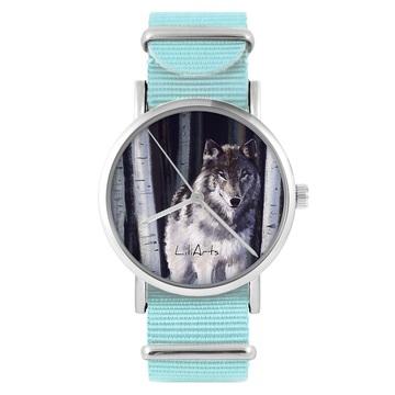 Zegarek LiliArts - Szary wilk - niebieski, nylonowy