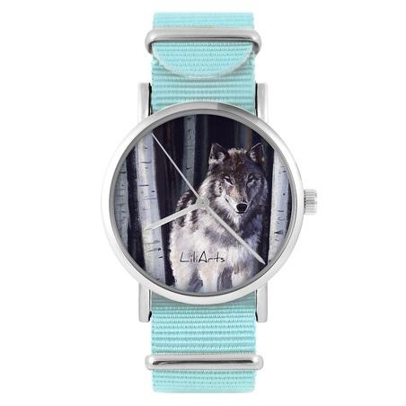 LiliArts watch - Gray wolf - blue, nylon