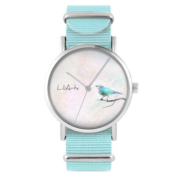LiliArts watch - Turquoise bird - blue, nylon