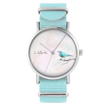 Zegarek LiliArts - Turkusowy ptaszek - niebieski, nylonowy