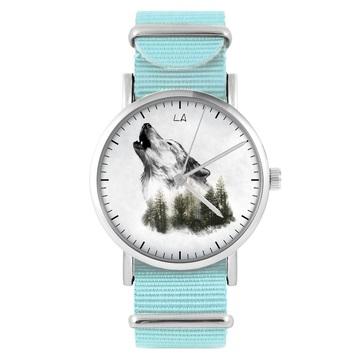 Zegarek LiliArts - Wilk - Into The Wild - niebieski, nylonowy