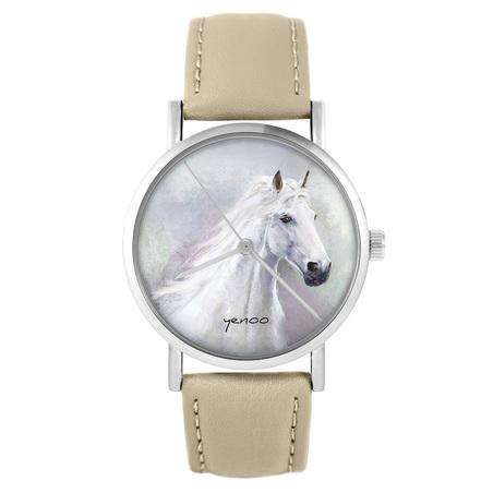 yenoo watch - White horse - beige, leather