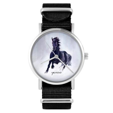 Watch - Black horse, Black, nylon