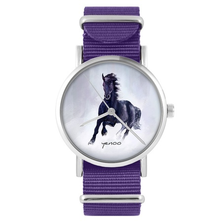 yenoo watch - Black horse - purple, nylon