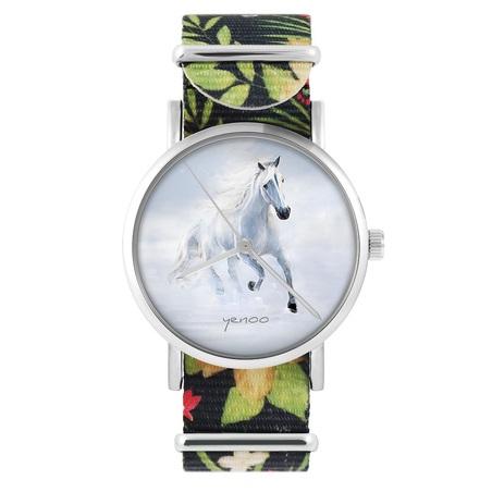 yenoo watch - White running horse - flowers, black, nylon