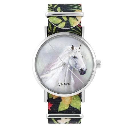 yenoo watch - White horse - flowers, black, nylon