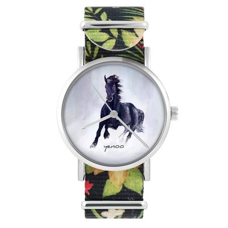 yenoo watch - Black horse - flowers, black, nylon