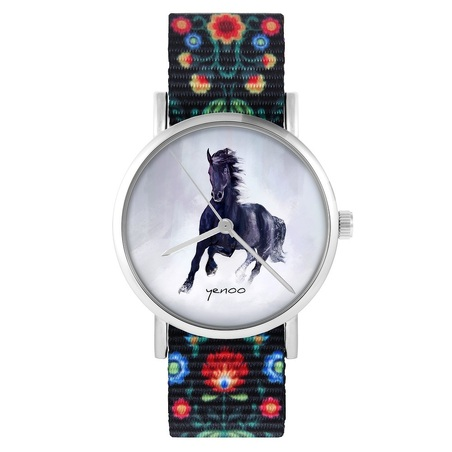 yenoo watch - Black horse - folk, black, nylon