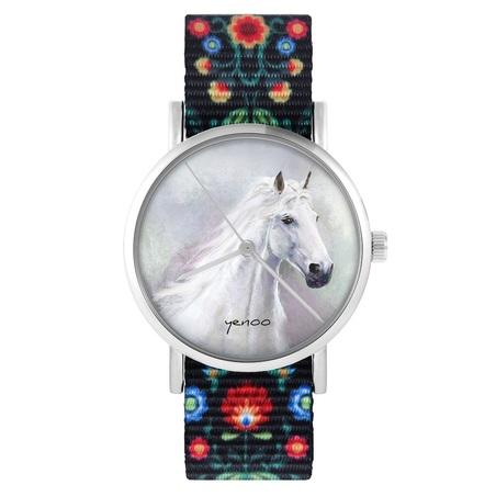 yenoo watch - White horse - folk, black, nylon
