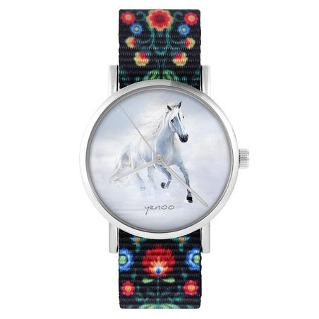 yenoo watch - White running horse - folk, black, nylon