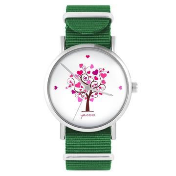 Yenoo watch - Tree of love - green, nylon