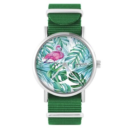 Yenoo watch - Flaming, tropical - green, nylon