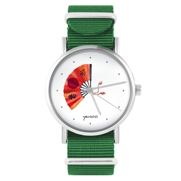 Yenoo watch - Japanese fan - green, nylon