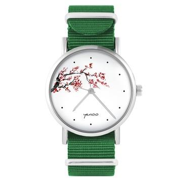 Yenoo watch - Cherry blossom - green, nylon