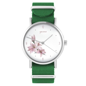 Yenoo watch - Lily - green, nylon