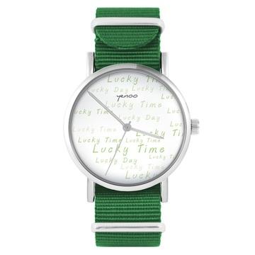 Zegarek yenoo - Lucky day - zielony, nylonowy