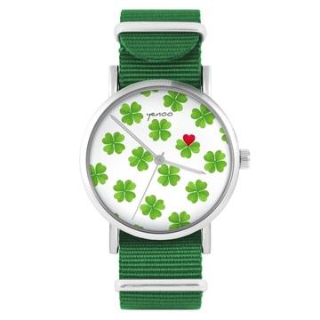 Yenoo watch - Lucky heart - green, nylon