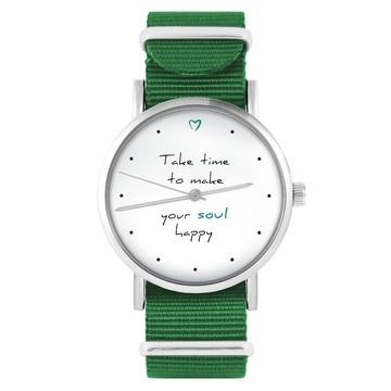 Yenoo watch - Make your soul happy - green, nylon