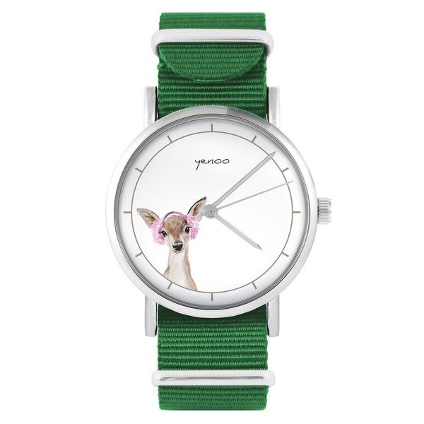 Yenoo watch - Roe-deer - green, nylon