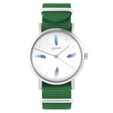 Yenoo watch - Turquoise feathers - green, nylon