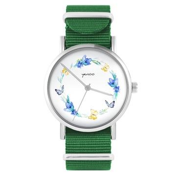 Yenoo watch - Butterfly wreath - green, nylon