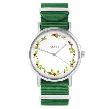 Yenoo watch - Wreath, wild rose - green, nylon