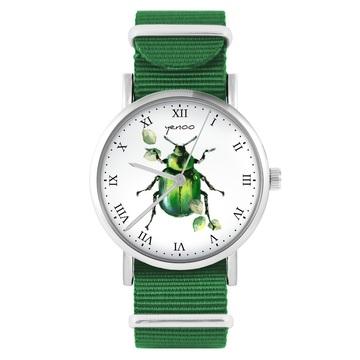 Yenoo watch - Green beetle - green, nylon