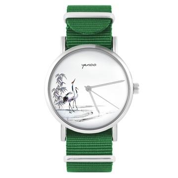 Yenoo watch - Sumi-e cranes - green, nylon