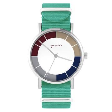 Yenoo watch - Classic tricolor - turquoise, nylon