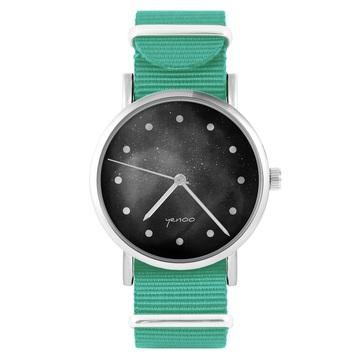 Yenoo Watch - Black - Black - Turquoise, Nylon